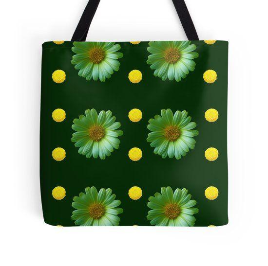 Medium Green Tote wFlower Design