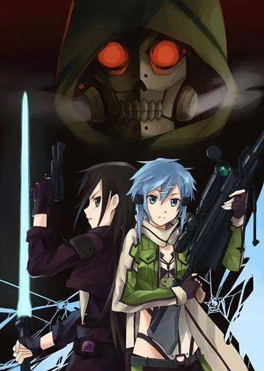 Kirito ggo and sinon kirito and sinon against death gun anime