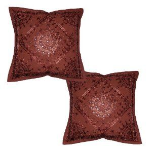 Indian Designer Cotton Cushion Cover Home Furnishing with Silk Thread Hand Embroidery & Mirror Work, 16 X 16 Inches Set of 2 Pcs
