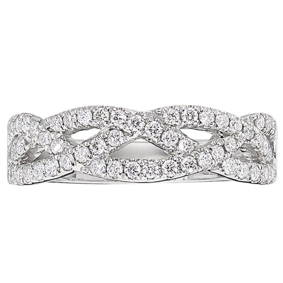 Criss Cross Diamond Wedding Band  14K white gold diamond criss cross band from the Reis-Nichols Collection. The band features 56 round brilliant-cut diamonds weighing .50 ctw. Size 6 in stock now. Special order sizes also available.