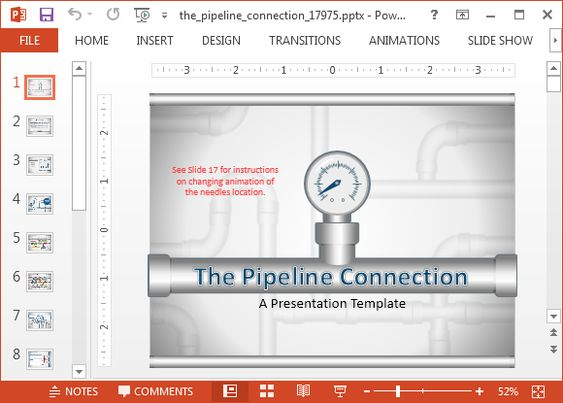Animated Pipeline connection PowerPoint template Digital - digital storyboard templates