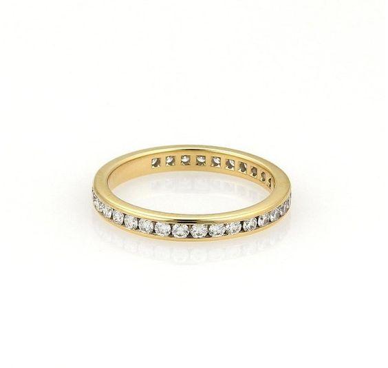 Tiffany & Co. 18K Yellow Gold Diamonds Eternity Band Ring