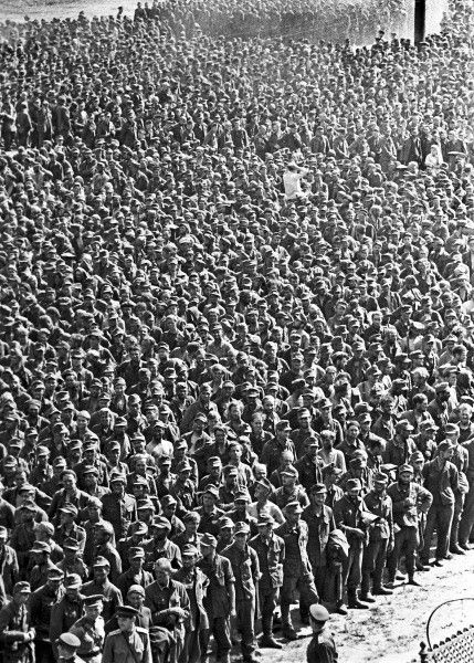 """German POWs in Moscow, July 1944. """"Officially, the Soviet Union took 2,388,000 Germans and 1,097,000 combatants from other European nations as prisoners . . . More than a million of the German captives died . . . """"In 1945, in Soviet eyes it was time to pay,"""" wrote British military historian Max Arthur. """"For most Russian soldiers, any instinct for pity or mercy had died somewhere on a hundred battlefields between Moscow and Warsaw."""":"""