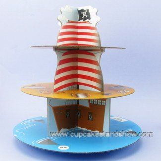 Tier Pirate Ship Disposable Cupcake Stand Cardboard