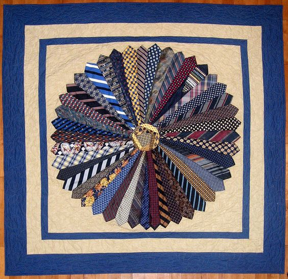 Tie quilt - great idea to have one made from the ties of a lost loved one.