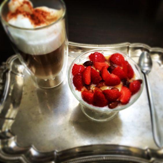 Breakfast: yogurt with strawberries