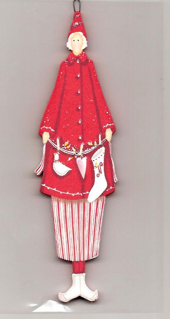 Figurine en bois peint / collection Tilda / Thème Noël