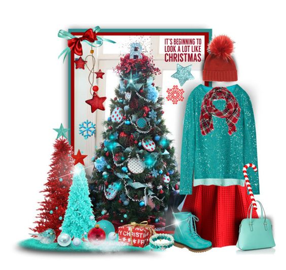 """Red & Teal Christmas"" by tracireuer ❤ liked on Polyvore featuring Kurt Adler, Chicwish, Oscar de la Renta, Reneeze, Look by M, Kate Spade, Sixtrees, Inverni and Apt. 9"