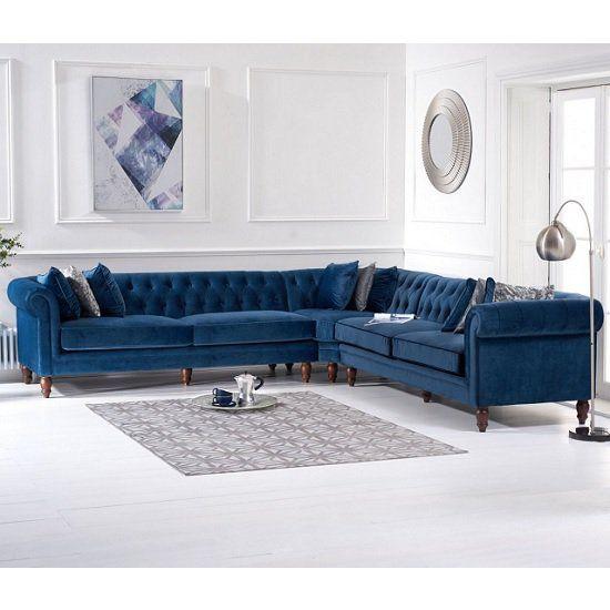 Candela Modern Fabric Corner Sofa In Blue Velvet In 2020 Velvet Corner Sofa Corner Sofa Living Room Living Room Sofa Design