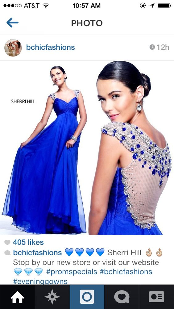 Royal Blue & White Evening Gown