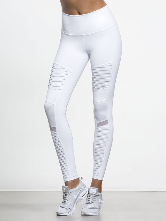 High Waisted Moto Legging in White by Alo Yoga from Carbon38 ...