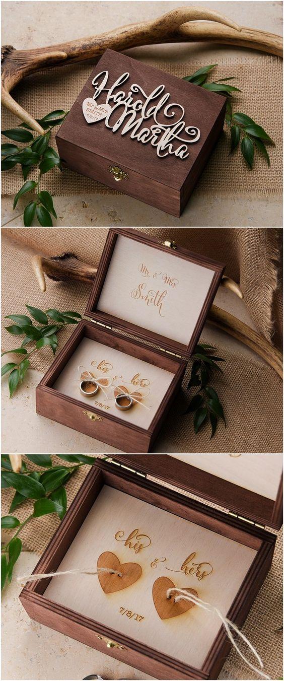 Rustic wood wedding ring box #rusticwedding #countrywedding #weddingideas…: