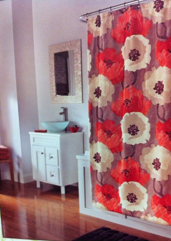 "Poppies Tangerine Shower Curtain. 72"" x 72"" @ $39.99. To Order Call toll-free 877-722-1100"