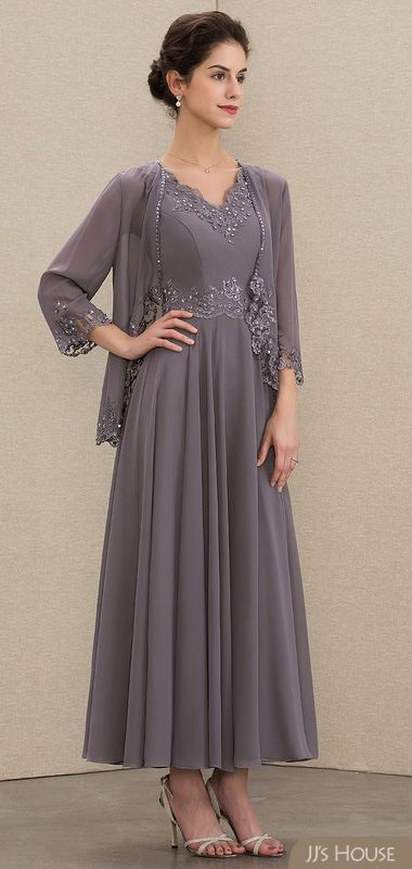 V Neck Ankle Length Chiffon Mother Of The Bride Dress With Wrap Beading Appliques Lace Sequins In 2020 Bride Dress Groom Dress Mother Of The Bride Dresses
