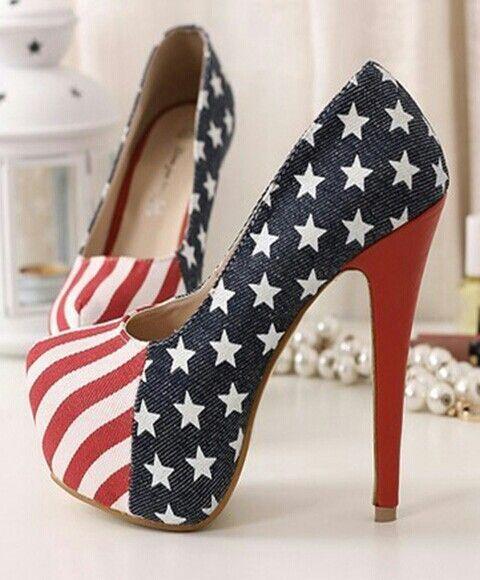 Sapatos com bandeira da america