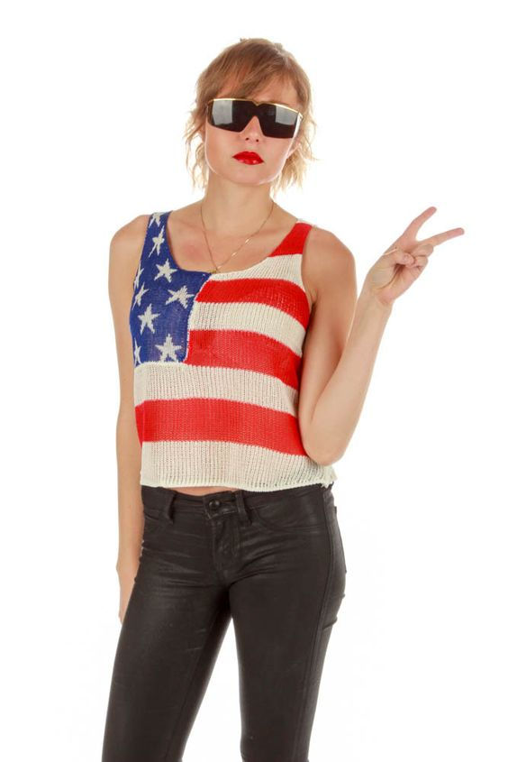 American Flag Knit Tank Crop Top - Shinesty USA Collection