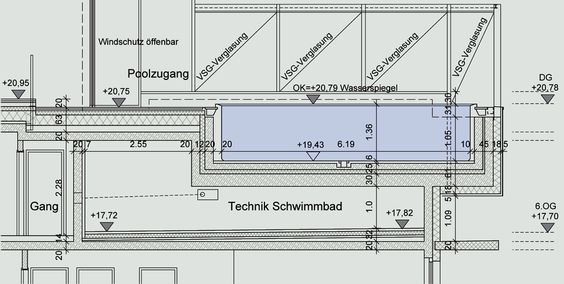 Rooftop Swimming Pool Diagram Section Diagrams Drawings Models Pinterest Pools World