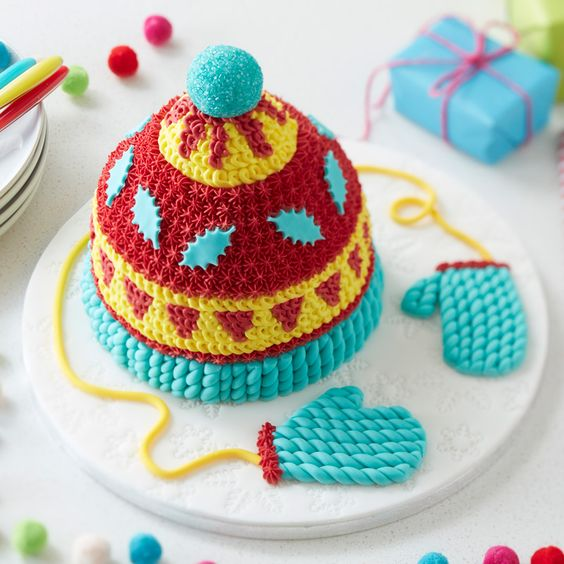How to Make a Knitted Hat Cake #knitted #hat #cake #baking #decorating #christmas #colourful #fun #showstopper