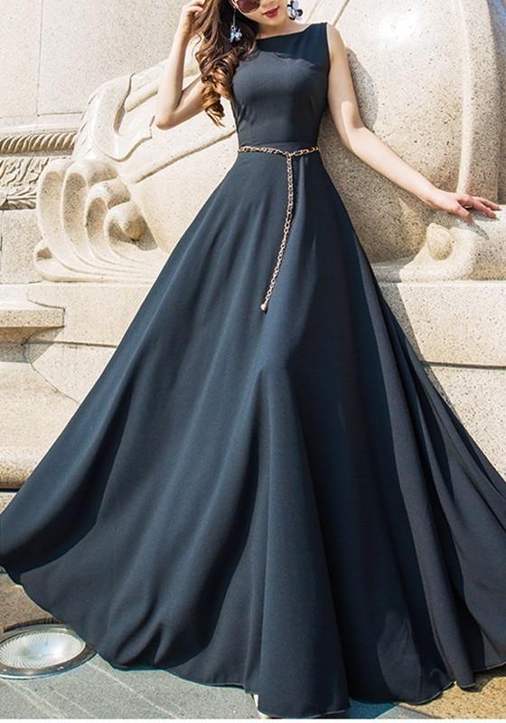Black Round Neck Elegant Maxi Dress M6860 Elegant Maxi Dress Long Gown Dress Indian Gowns Dresses