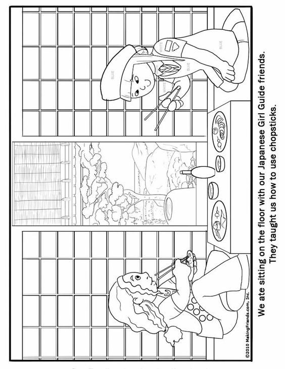 japanese girl guide coloring page