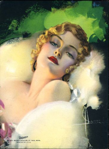 ROLF ARMSTRONG 1929 ART DECO VINTAGE PIN-UP PRINT RARE IMAGE DREAMING FLAPPER