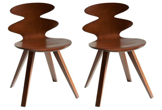Walnut Rosie Plyshell Side Chairs, Pair