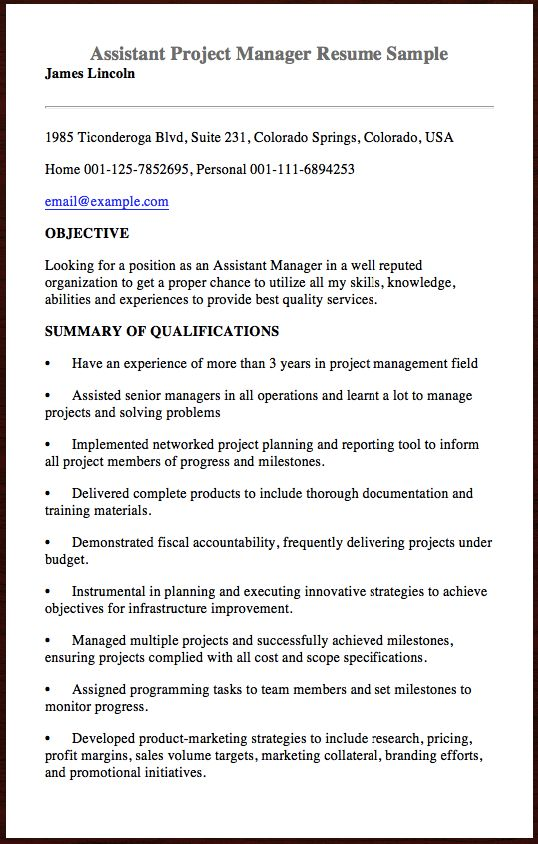 Here Is The Assistant Project Manager Resume Sample You Can - managers resume sample