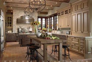 Mediterranean Kitchen with Chandelier, Caesatstone - frosty carrina, Wood counters, Quartz, Quartz counters, Farmhouse sink