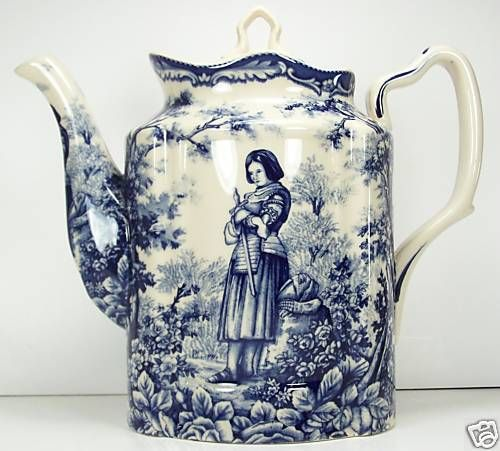 FRENCH TOILE 6 CUP TEAPOT JOAN OF ARC BLUE TRANSFERWARE