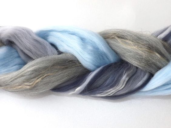 Blended roving 3 x 50g/1.75oz Smoke Blue Rabbit by nunoco
