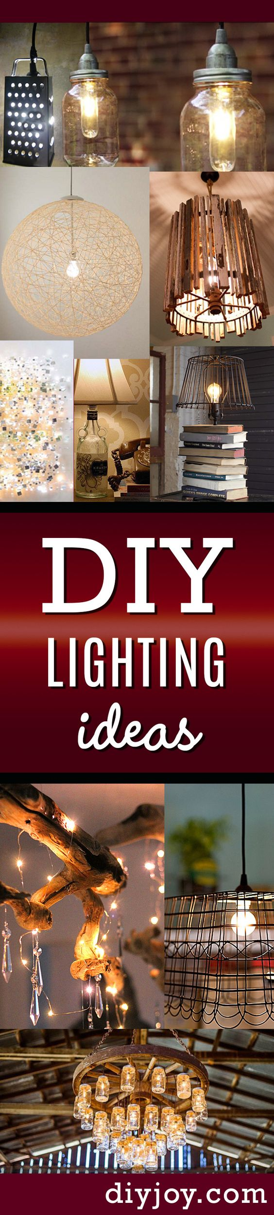 DIY Lighting Ideas and Cool DIY Light Projects for the Home. Chandeliers, lamps, awesome pendants and creative hanging fixtures,  complete with tutorials with instructions  |  http://diyjoy.com/diy-projects-lighting-ideas