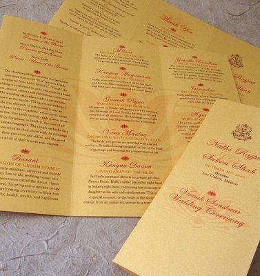 Indian Wedding Ceremony Program Tri Fold On Gold Shimmer W Lotus