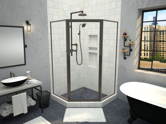 Redi Neo Neo Angle Shower Pan With Trench Drain Oil Rubbed