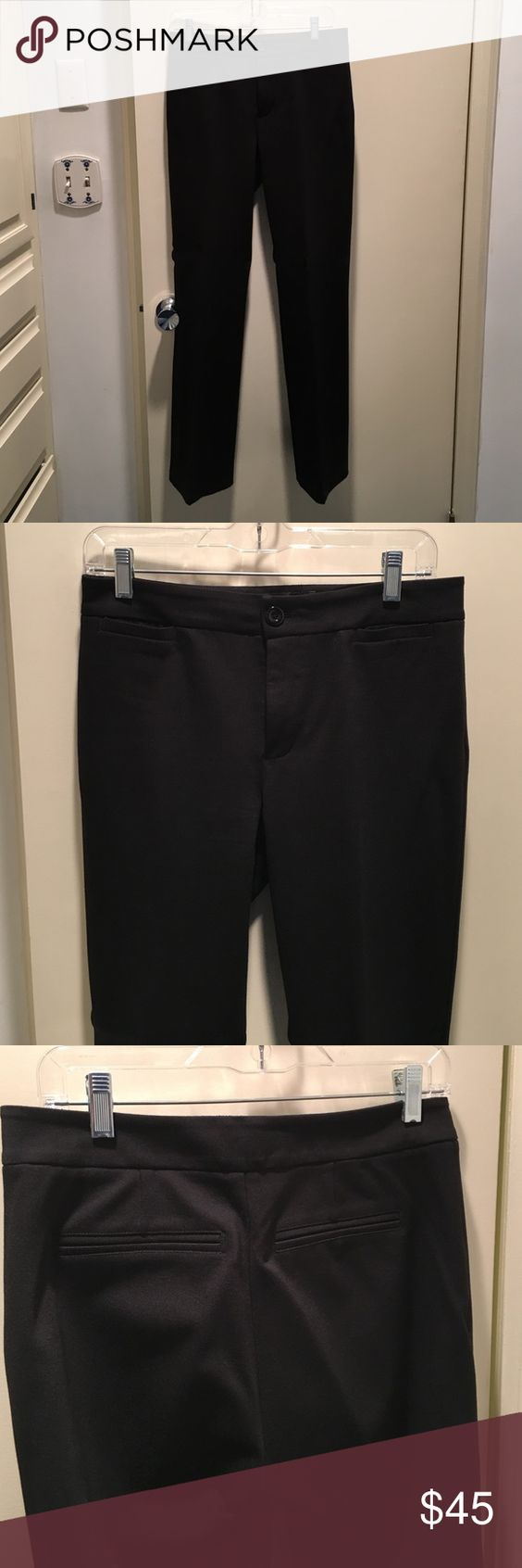 Flat front NYDJ pants Like new black dress stretch pants. Mini slit pockets on front, Slit pockets in back. Not Your Daughter's Jeans size 4 Pants Trousers