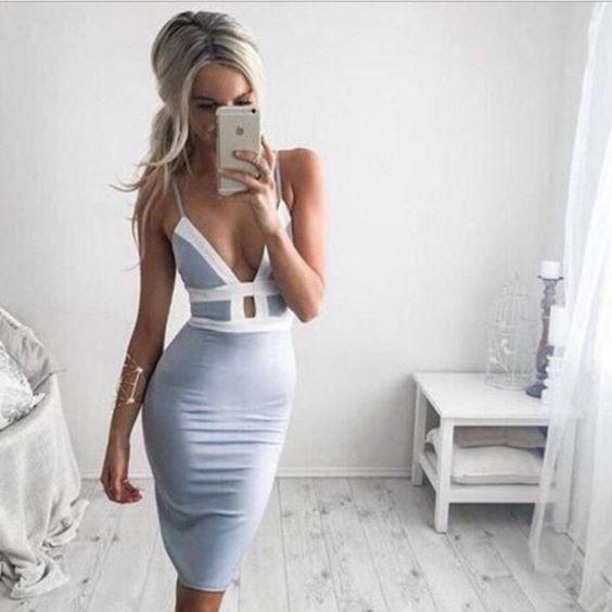 Sexy bodycon hollow out deep v dress