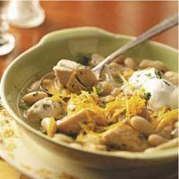 White Bean Chicken Chili.  Everytime I make this, everyone eats a 2nd bowl and wants the recipe.  Simply delicious!