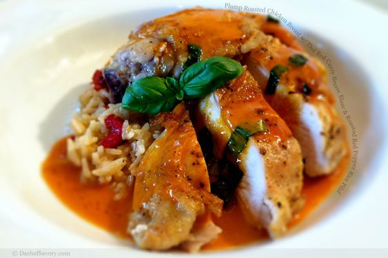 Chicken Breast with Thai Red Curry Beurre Blanc and Roasted Red ...