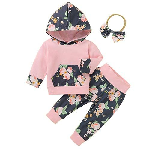 Newborn Baby Girl Clothes Set Floral Ruffled Sleeve Jumpsuit Pants Headband Vest Set Toddler Outfits Infant Romper