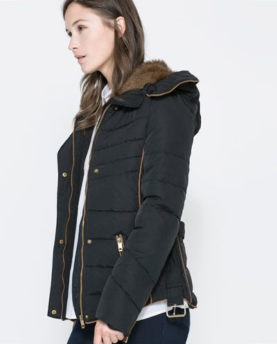 ZARA - WOMAN - SHORT QUILTED JACKET WITH HOOD | Jacket | Pinterest ...