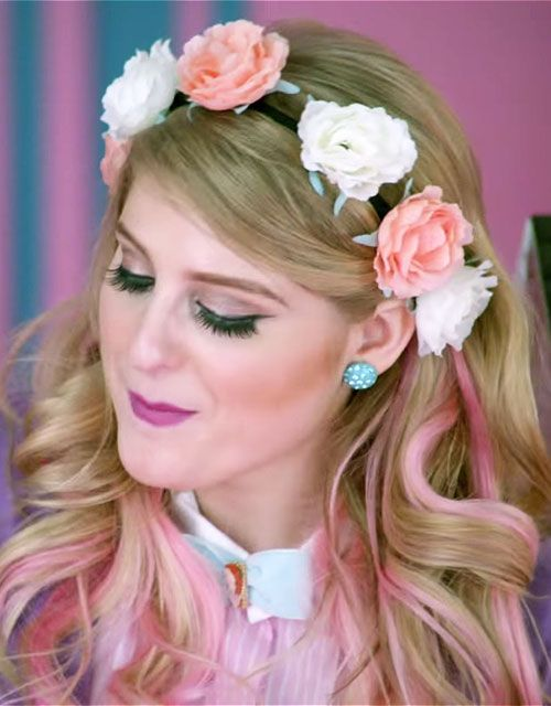 meghan-trainor-hair-all-about-that-bass-flower-crown // get her hair: http://stealherstyle.net/meghan-trainor/?post_type=hair