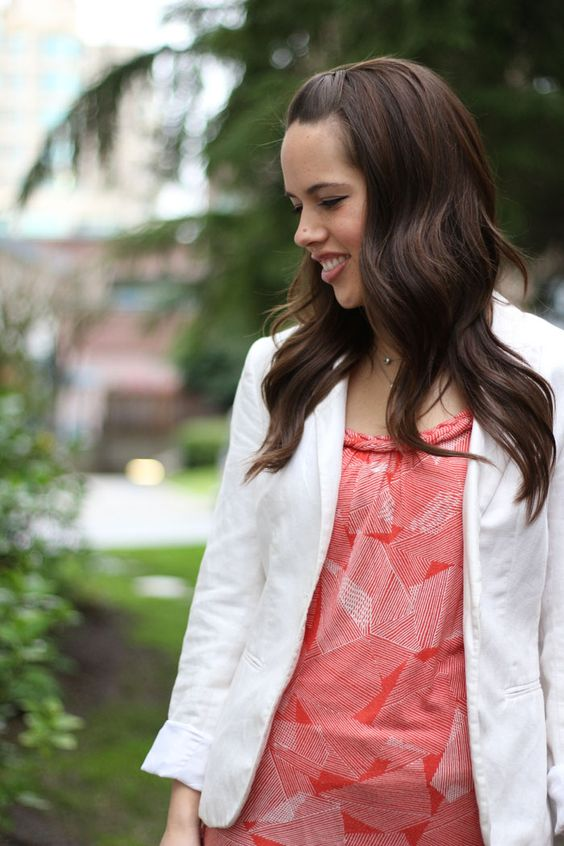 jules in flats: April 9 - White Blazer and Orange Abstract Top