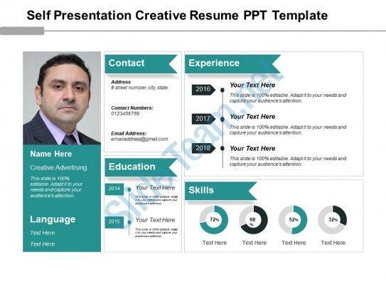 Self Presentation Creative Resume Ppt Template Slide01