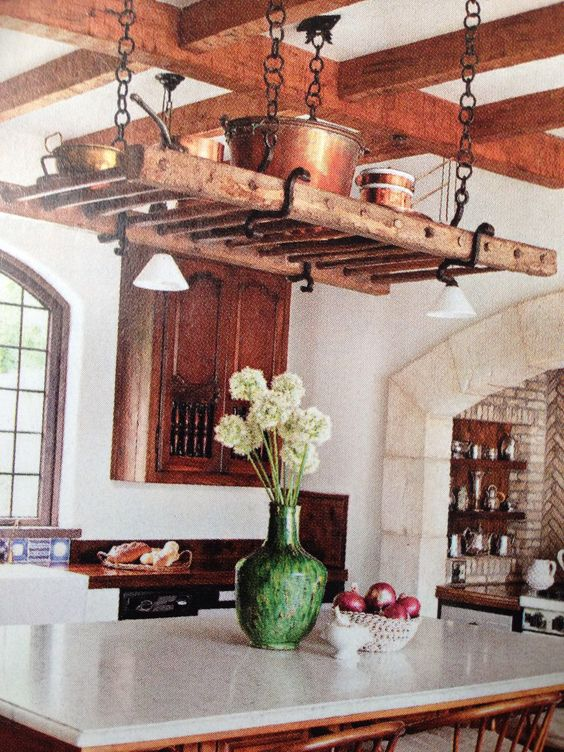 kitchen island hanging pot racks ladder pot racks and vines on 8181