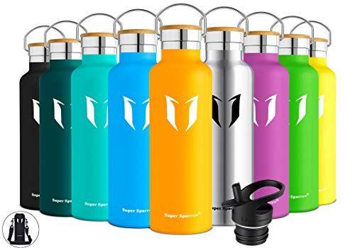 Wasserflasche Doppelwandig Vakuum Isoliert Edelstahl BPA-freie Auslaufsicher Sport Trinkflaschen Tragetasche 1000ml 2 Deckel Ideale Flasche Super Sparrow Trinkflasche