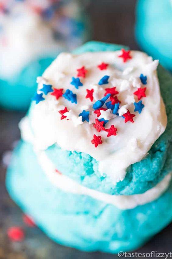 Easy 4th of July patriotic-cake-mix-jello cookies