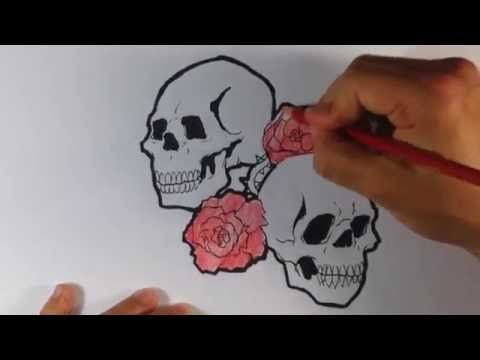 How To Draw A Tattoo Design Skulls And Roses Youtube In 2020 Skulls And Roses Tattoo Designs Drawings