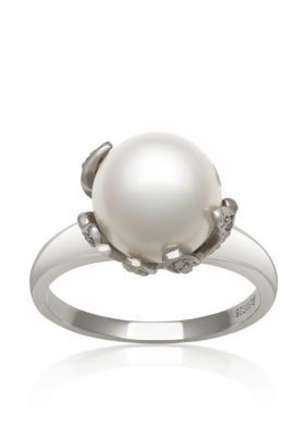 Belk  Co.  Fresh Water Pearl and Diamond Ring Set In Sterling Silver