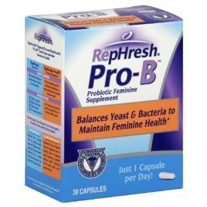 RepHresh Pro-B Probiotic Feminine Supplement, Just 1 Capsule per Day Balances Yeast & Bacteria to Maintain Feminine HealthLactobacillus, yeast, and other bacteria are all naturally present in your body, and optimum vaginal health occurs when there is a healthy balance of these elements. RepHresh Pro-B is clinically shown to provide healthy probiotic lactobacillus that works with your body to balance yeast and bacteria.