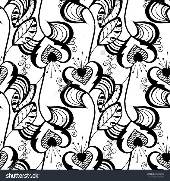 Seamless Monochrome Floral Pattern. Hand Drawn Floral Texture, Decorative Flowers