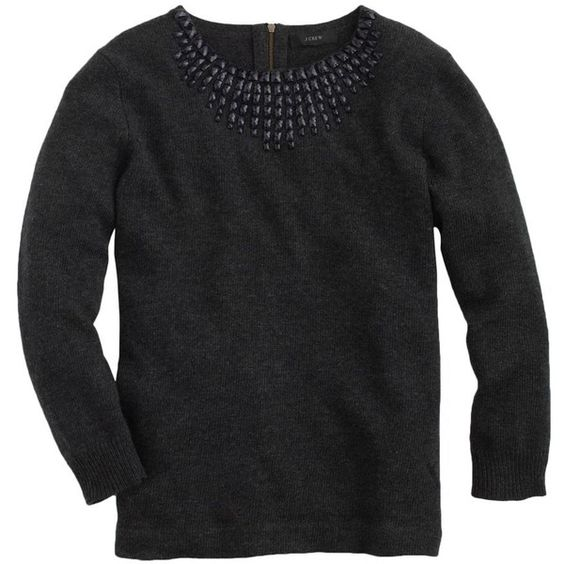 J.Crew Jeweled-starburst sweater ($80) ❤ liked on Polyvore featuring tops, sweaters, jewel top, 3/4 sleeve sweaters, collar top, jeweled tops and relaxed fit tops